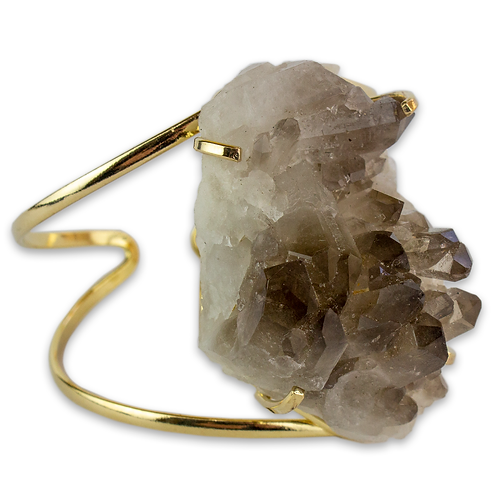 Smoky Crystal   Wire Bracelet
