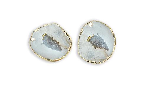 White Geode   Geode Stud Earrings