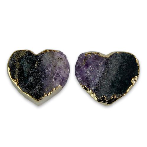 Heart   Amethyst Slice Stus Earrings