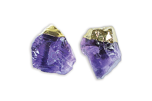 Amethyst Gem | Electroplated Stud Earrings