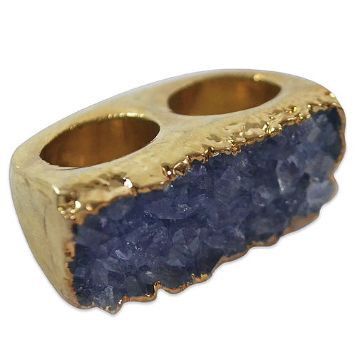 Amethyst | Double Body Plated Cluster Rings