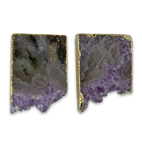 Squere   Amethyst Slice Stud Earrings