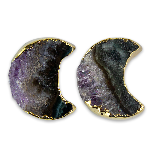 Moon | Amethyst Slice Stud Earrings