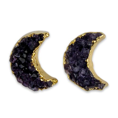 Moon | Amethyst Druzy Stud Earrings