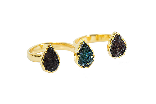Triple Druzy | Electroplated Rings