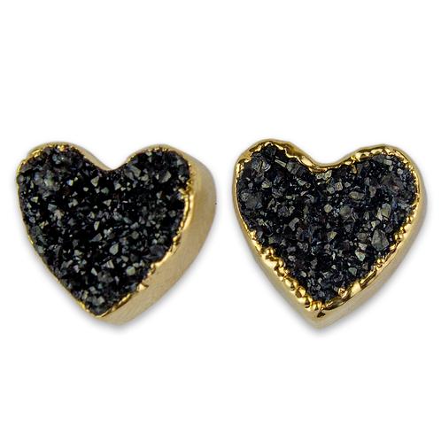 Heart Druzy | Shaped Druzy Stud Earrings