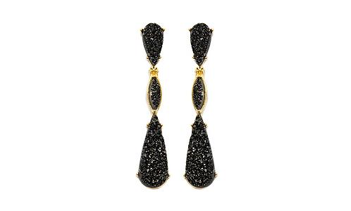 Triple Druzy   Fancy Dropper Earrings