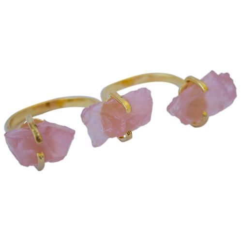 Rose Quartz   Triple Gem Rings