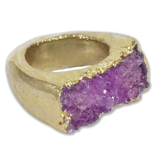 Pink Agate Druzy | Body Plated Rings