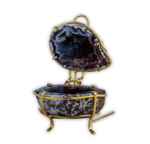 Geode Jewelry Holder on Metal Stand   Home & Decor