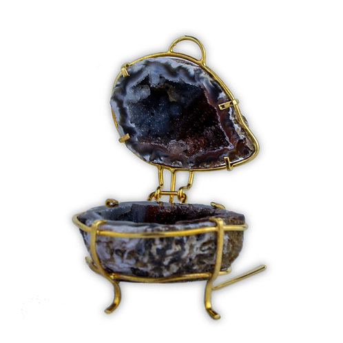 Geode Jewelry Holder on Metal Stand | Home & Decor