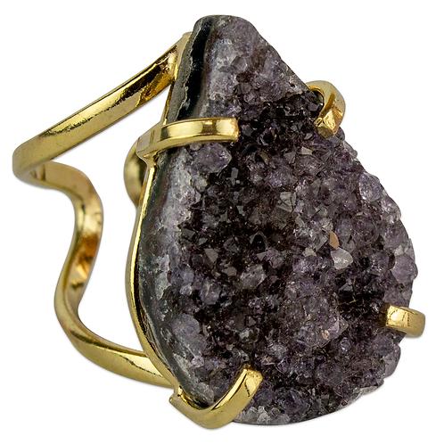 Agate Druzy   Arc Ring