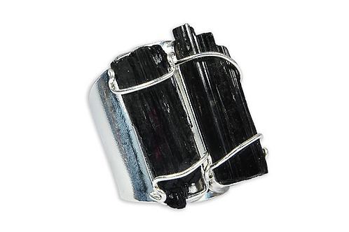 Black Tourmaline | Cuff Ring
