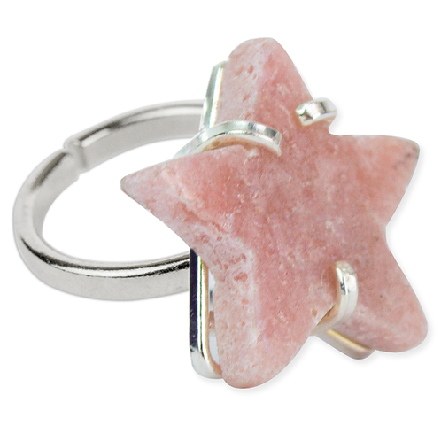 Pink Amethyst (Star)   Simple Band Ring