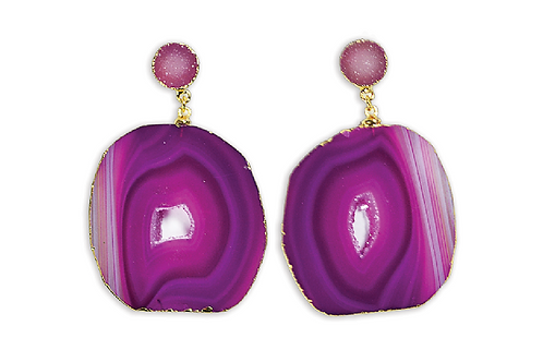 Agate Druzy | Double Dropper Earrings