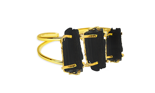 Black Tourmaline   Triple Bracelet