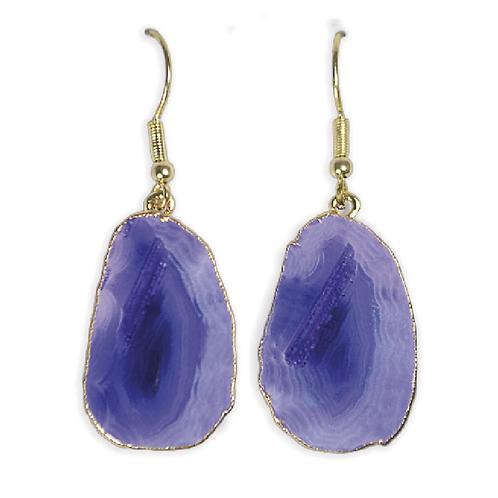 Agate Slice   Hook Earrings