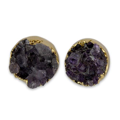 Circle   Amethyst Druzy Stud Earrings