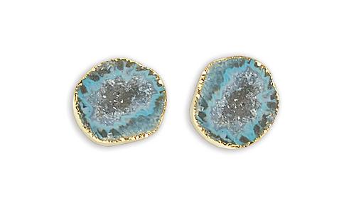 Teal Geode   Geode Stud Earrings