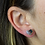 Thumbnail: Heart   Amethyst Slice Stus Earrings