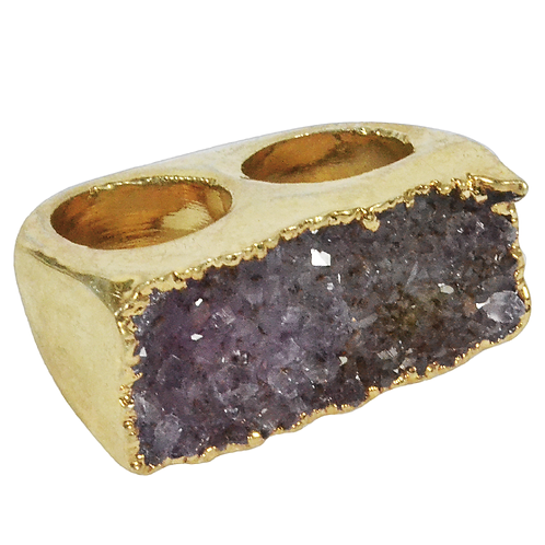 Purple Ring | Double Body Plated Druzy Rings