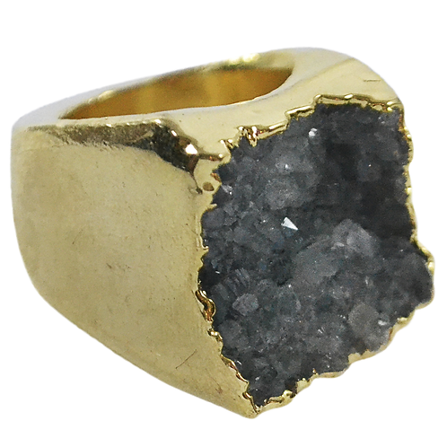Gray Agate Druzy   Body Plated Rings