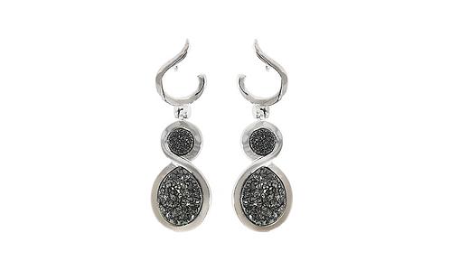 Spiralli Coated Druzy   Fancy Dropper Earrings