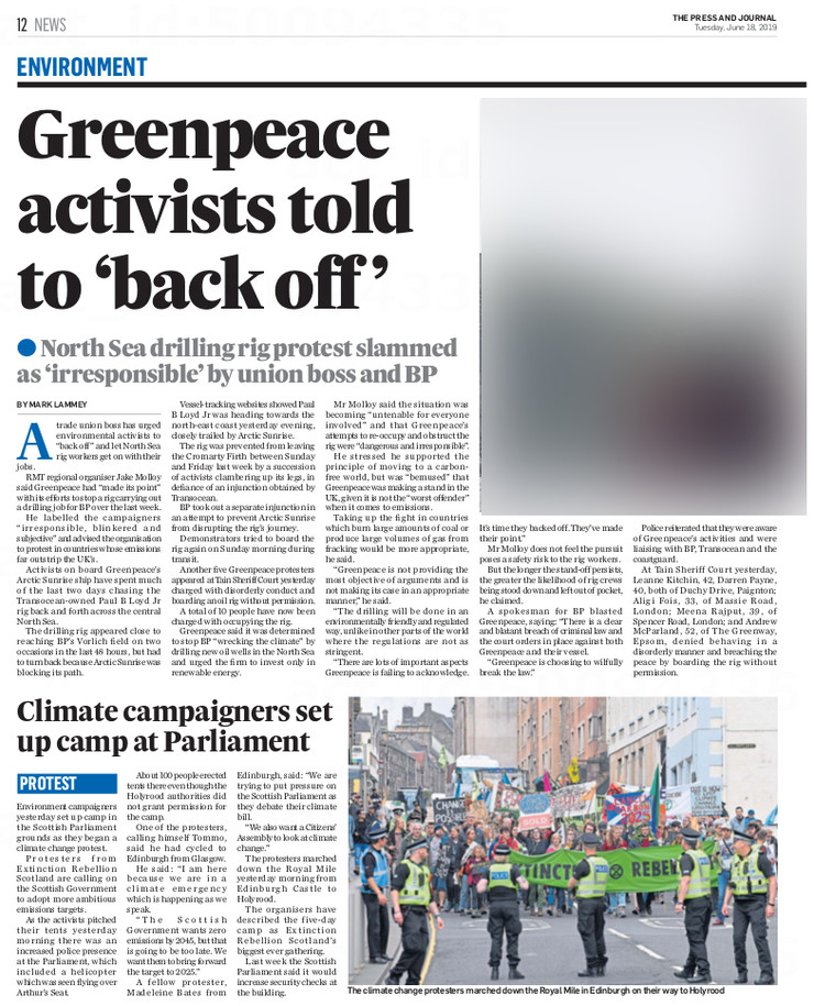 Press & Journal, Tuesday 18th June 2019,