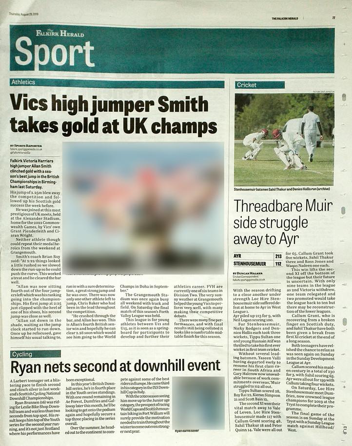 Falkirk Herald, 29th August 2019, sports