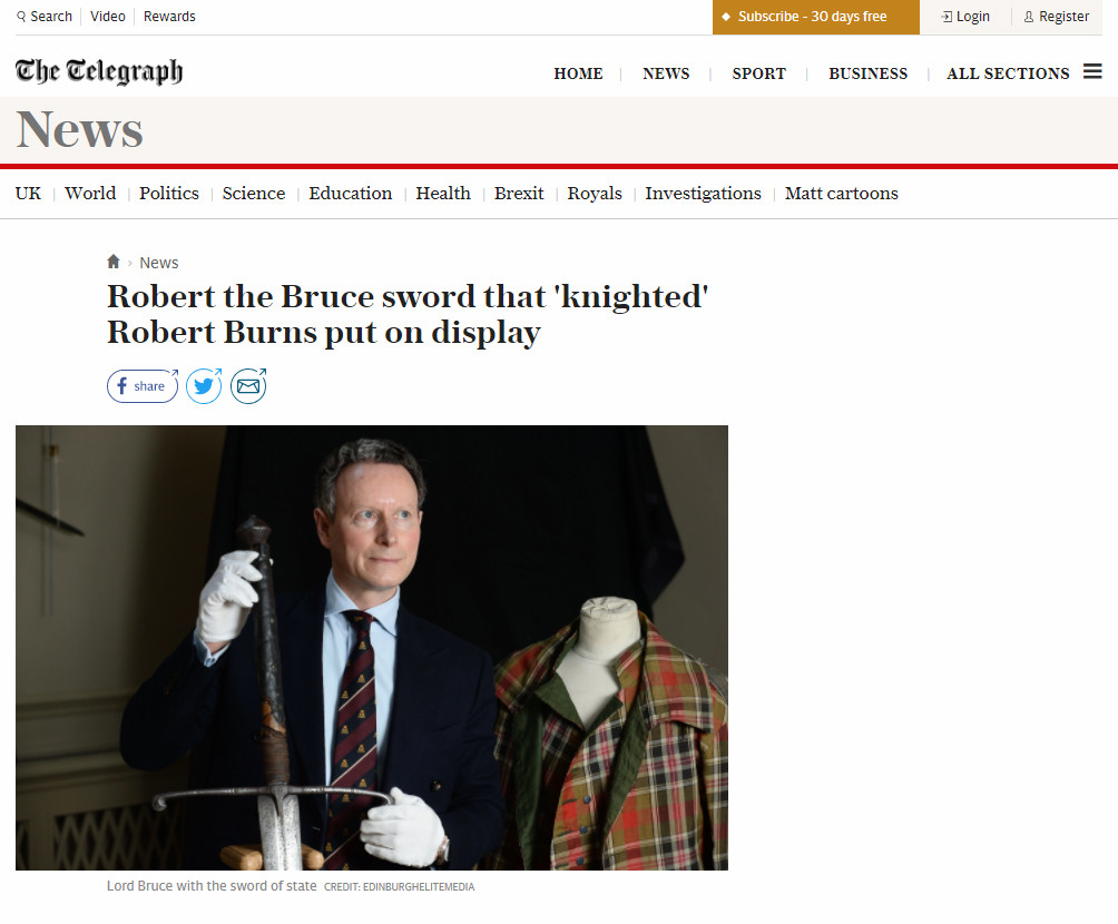 Telegraph online, Monday 15th January 20