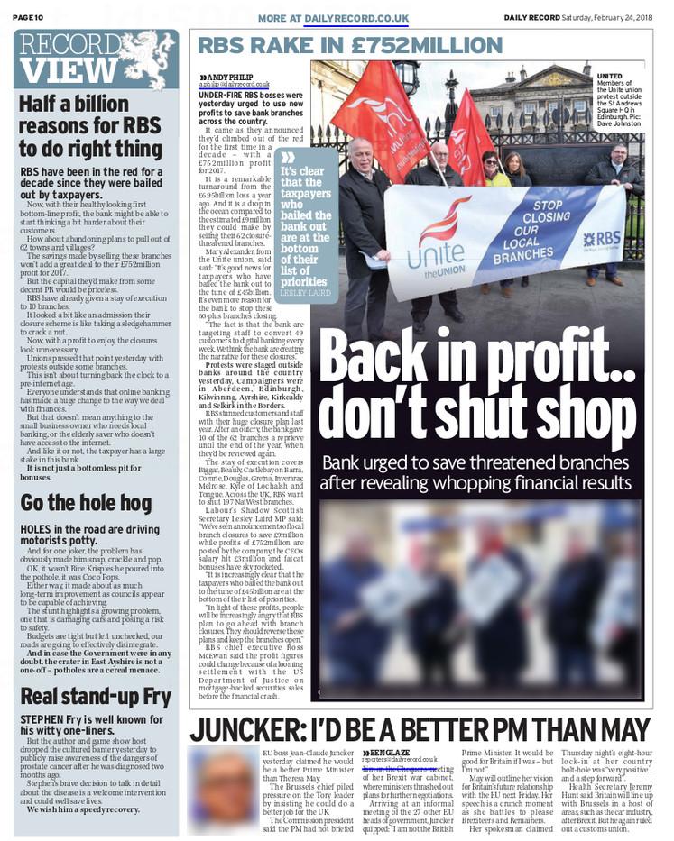 Daily Record, SAturday 24th February 201
