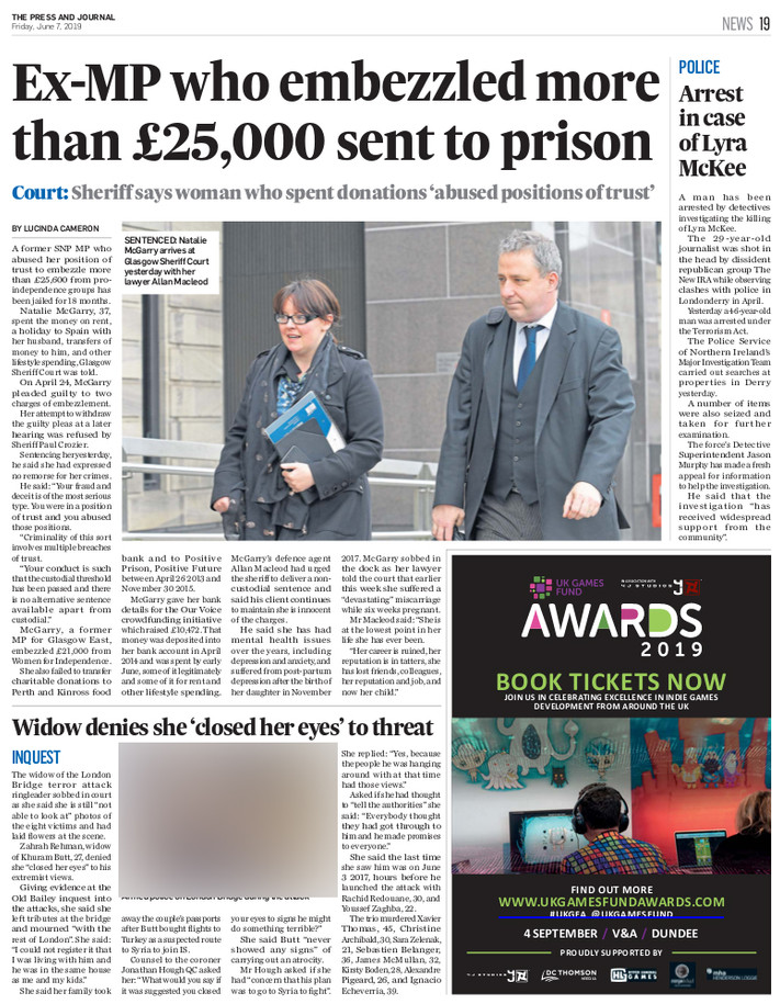 Press & Journal, Friday 7th June 2019, p