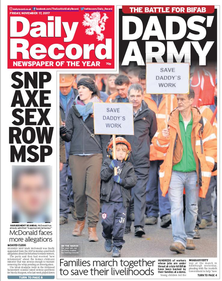 Daily Record, Friday 17th November 2017,