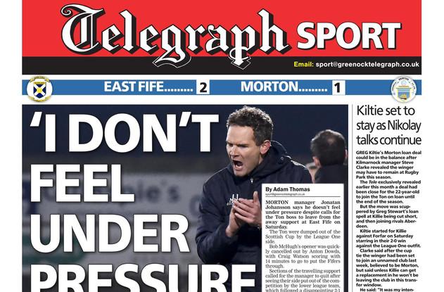 Greenock Telegraph 21st January 2019, ba