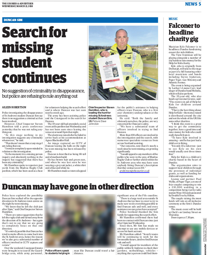 The Courier, Wednesday 21st March 2018,