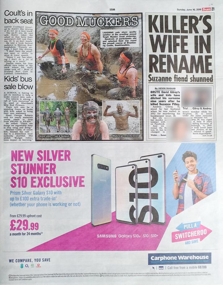 Scottish Sun, Sunday 16th JUne 2019, pg
