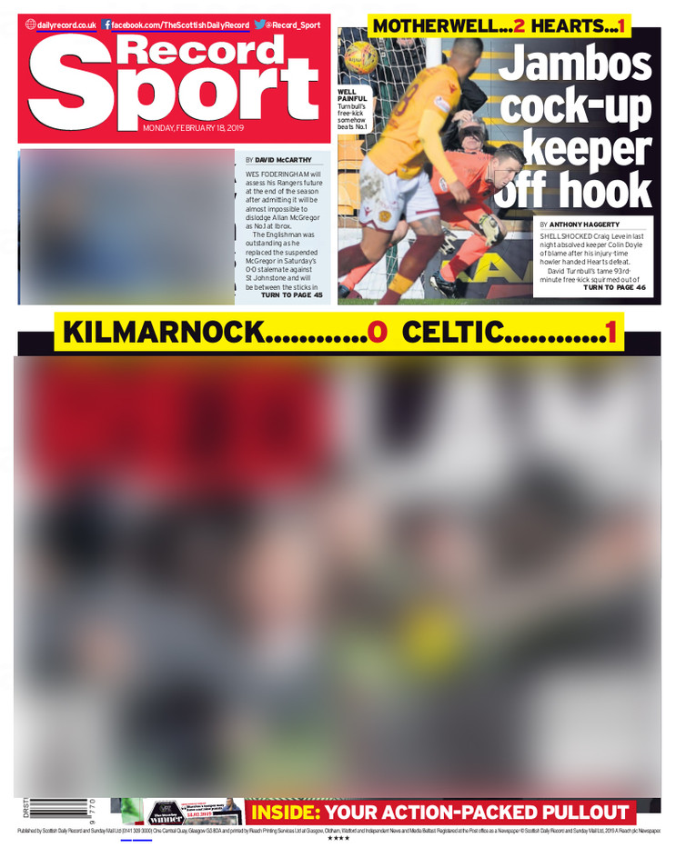 Daily Record, Monday 18th February, back