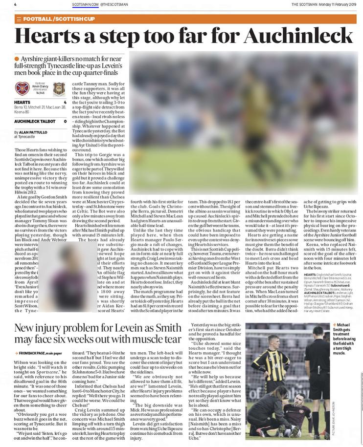 The Scotsman, Monday 11th February 2019,