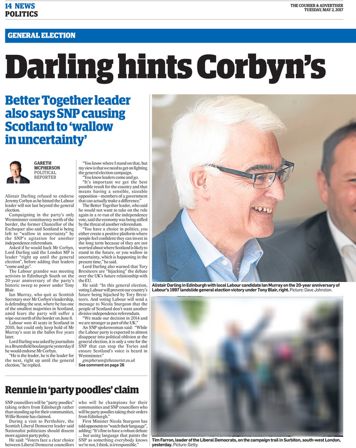 The Courier Alasdair Darling 2 May 2017.