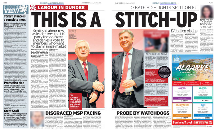 Daily Record, Monday 12th March 2018, pg