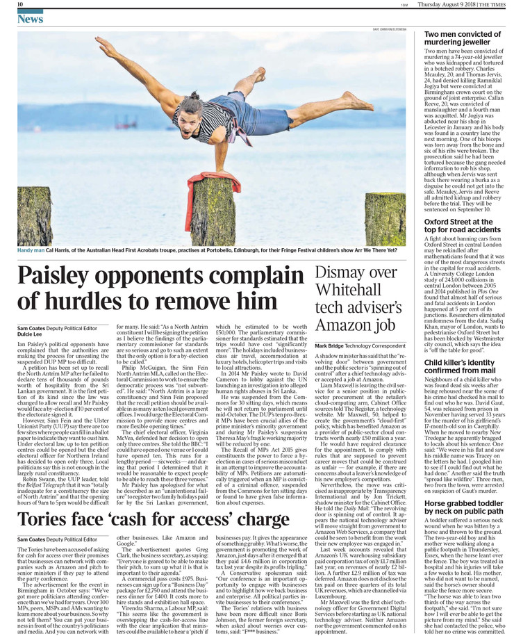 The Times, THursday 9th August 2018, pg