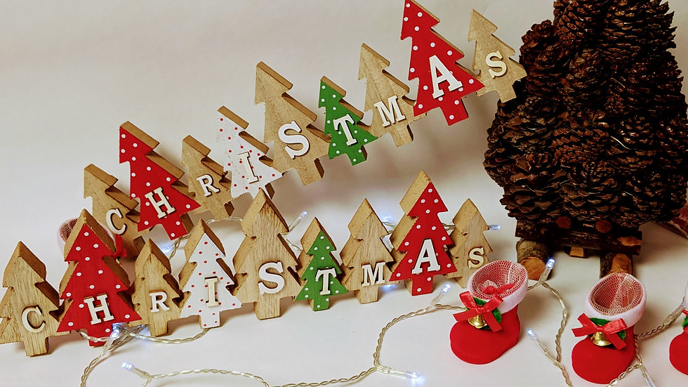 Wooden Trees With Christmas Text
