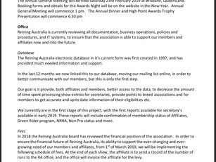 2019 Information and Updates from Reining Australia (important, please read) Run levy to be charged