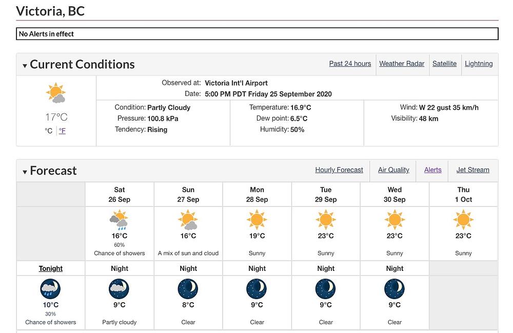 维多利亚一周好天气,图片来源:加拿大环境部
