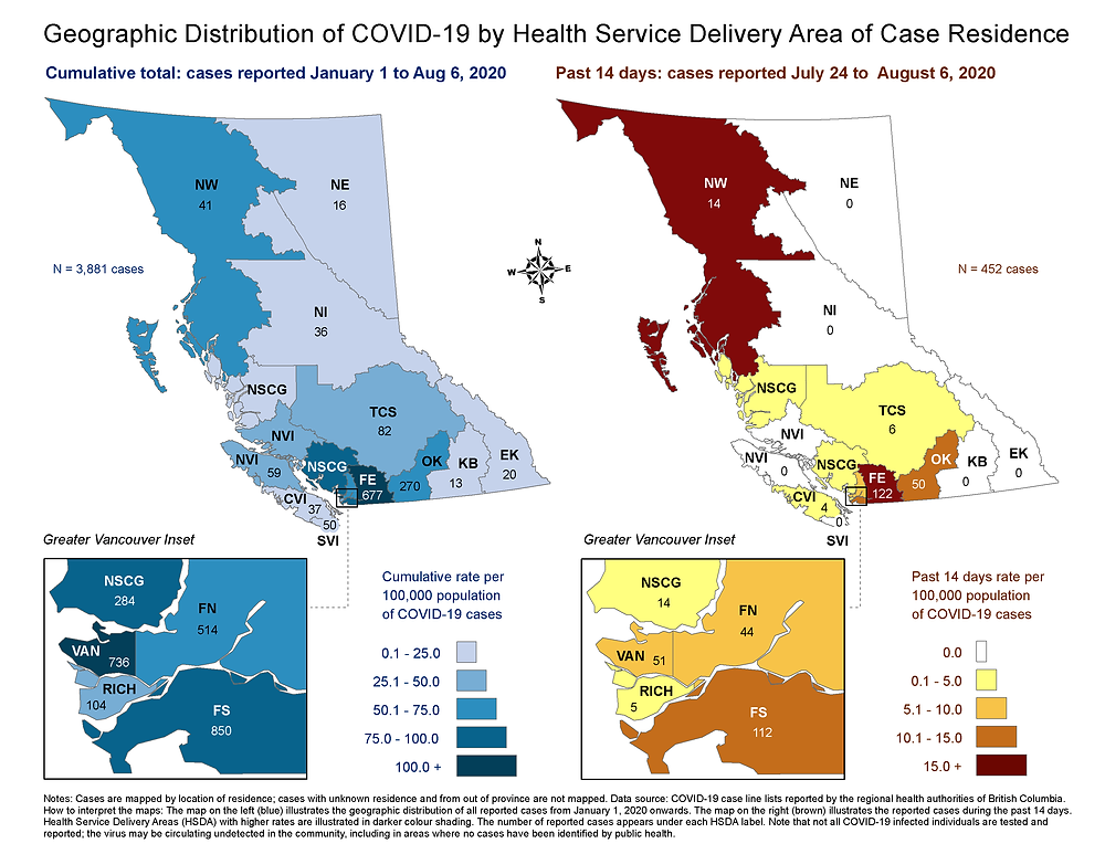 BC省疾控中心发布的患者位置数据  来源:BCCDC