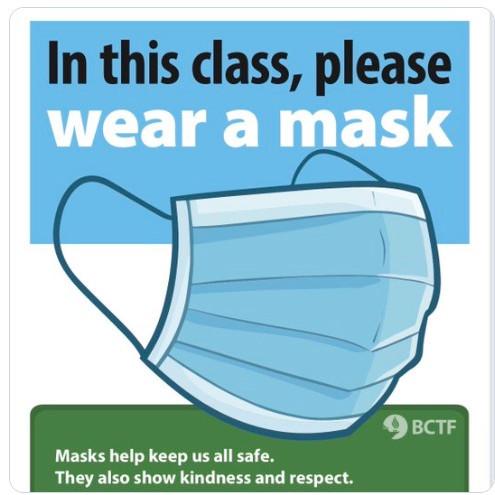 "BC省教师联合会共同""培育戴口罩的文化""。"