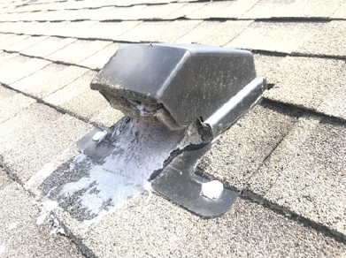 dryer vent terminated on the roof. It was completely clogged.