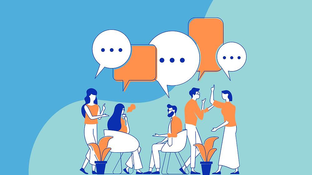 Illustrasjon av fem mennesker av begge kjønn som diskuterer og prater sammen i et åpent landskap. Et friskt og fargerikt tegneserieaktig bilde i fargene blå, grønn, orange og hvit.