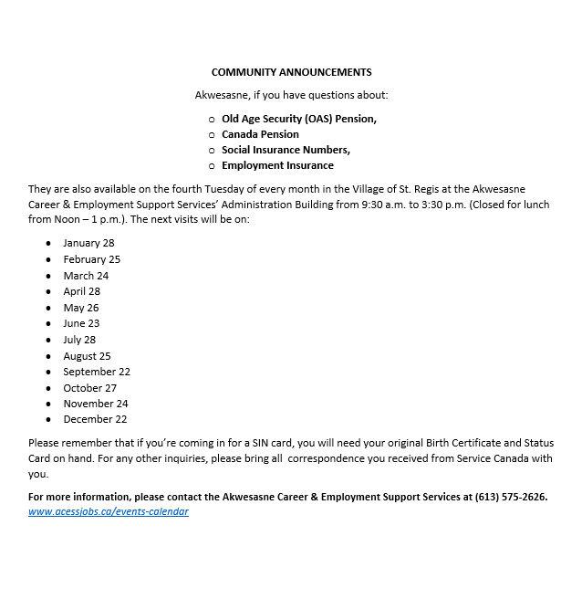 Service Canada Dates 2020 Acess