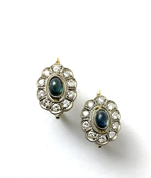 1 Paar Safir-Diamant-Ohrhänger